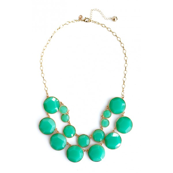 Mint Green Faceted Round Bauble Box Statement Necklace
