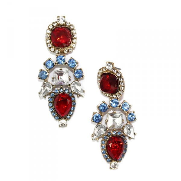 Ruby Aztec Gemstone Pave Art Deco Earrings