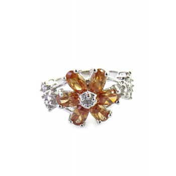 Amber Floral Crystal Cubic Zirconia Ring