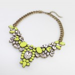 Anastasia Neon Yellow Floral Crystal Bib Necklace