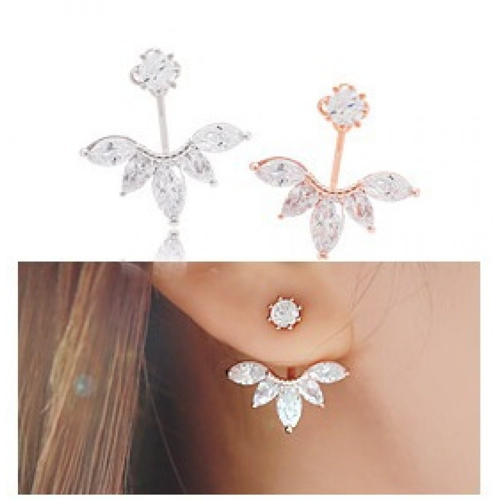 Angel Marquise Flare Crystal Ear Jackets Floating Earrings