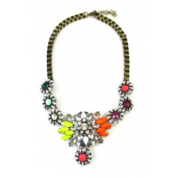 AGNIESKA Rainbow Neon Crystal Burst Necklace