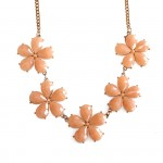 Apricot Faux Stone Bloom Bauble Necklace
