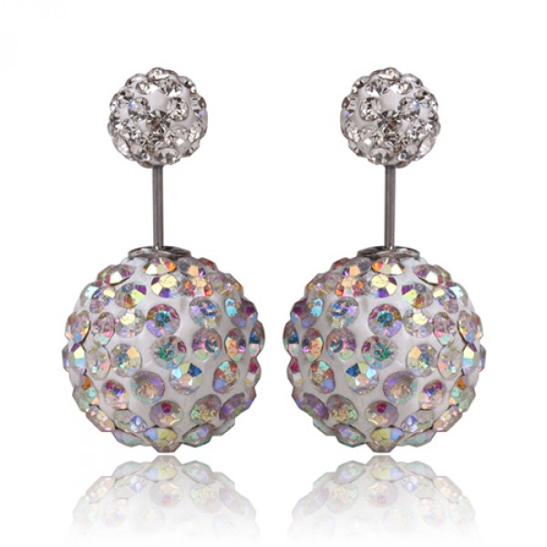 Aurora Pave Double Sided 360 Statement Earrings