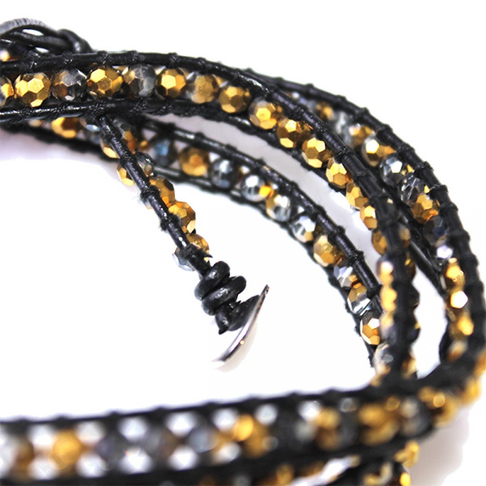 Black And Gold Faceted Beads Brown Leather Wrap Bracelet