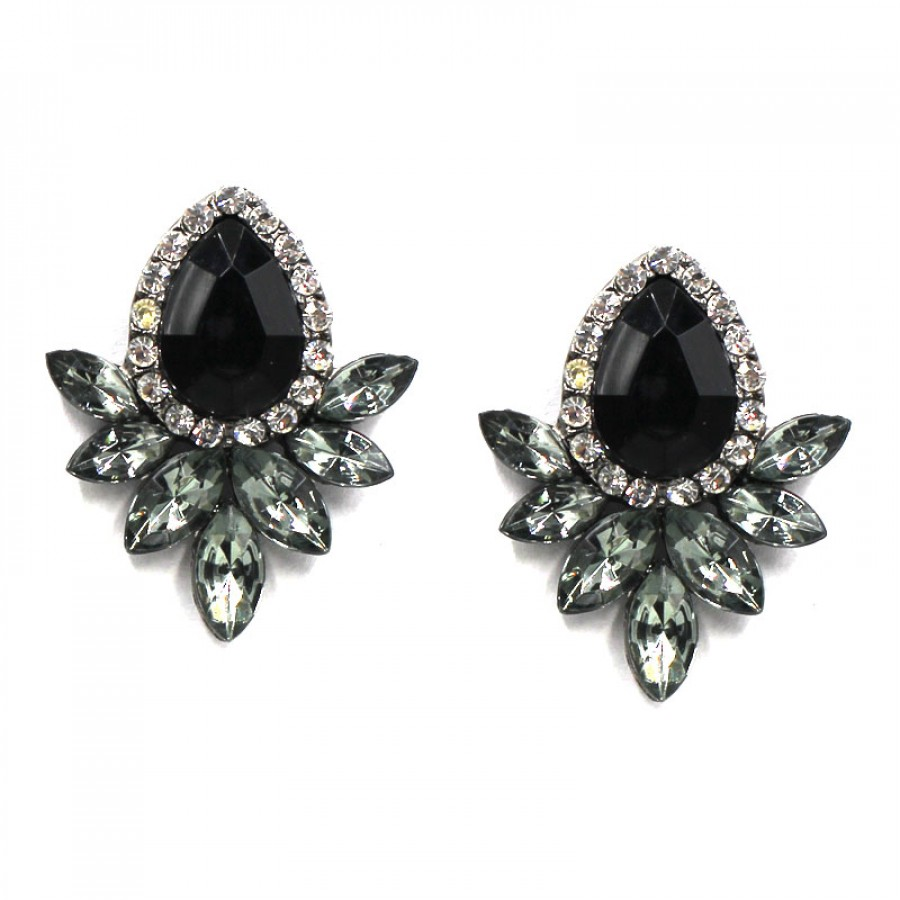 black products rubans collections western stud earrings floral crystal