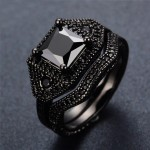 Black Square Cut Crystal Black Gold Filled Ring