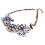 Anastasia Blue Multi Crystal Flower Bib Necklace