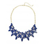 Windham Navy Blue Marquise Stone Cluster Necklace