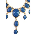 Cobalt Opal Stone Teardrop Cascade Statement Bib Necklace