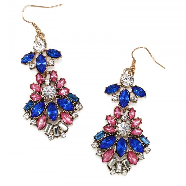 Isla Azure and Pink Crystal Floral Marquise Earrings