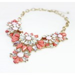 Coral Flower Borealis Stone Bib Necklace