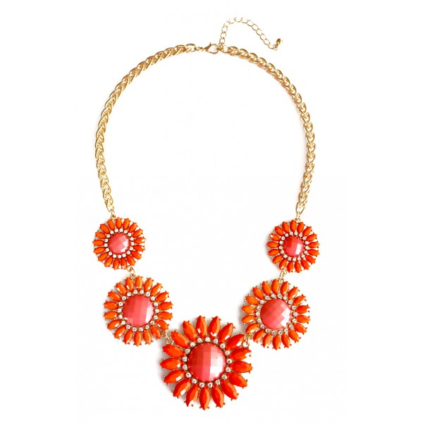 Orange Sunflower Bouquet Statement Necklace
