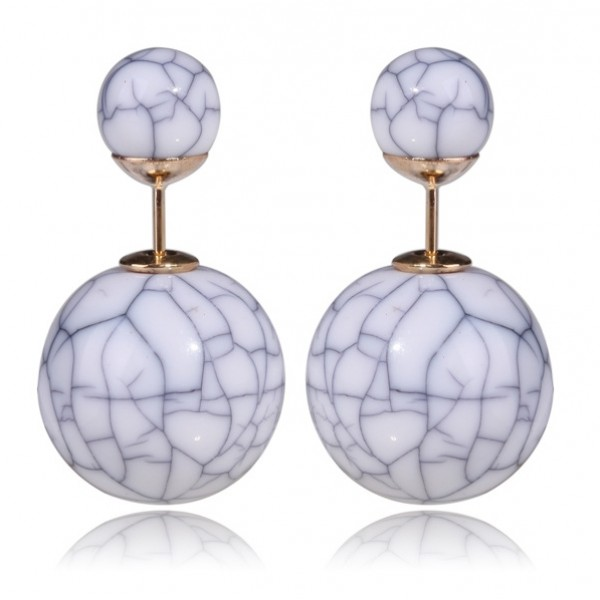 White Marble Double Sided Earrings