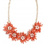 Coral Pearl Bloom Statement Necklace