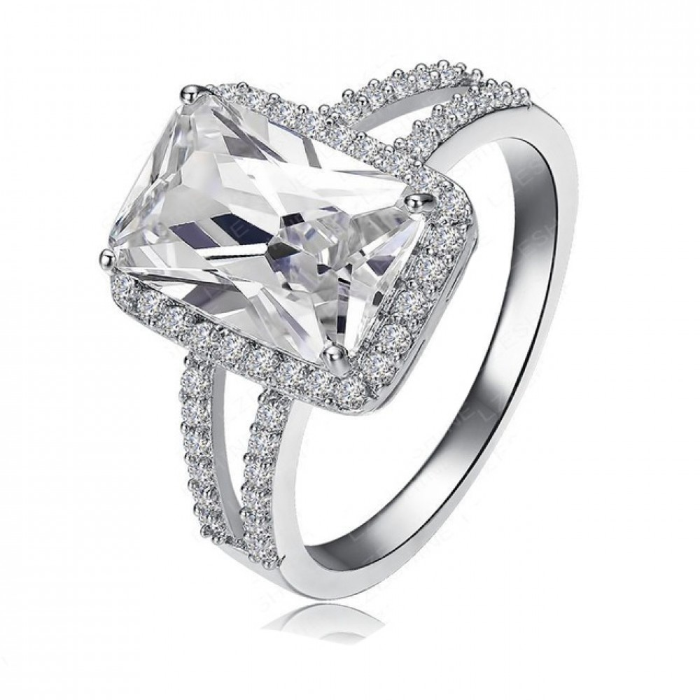 Declan Ice Rectangle Cubic Zirconia Double Band Engagement Ring