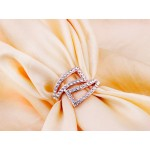 Eli Crystal Geometric Pave Rose Gold Ring