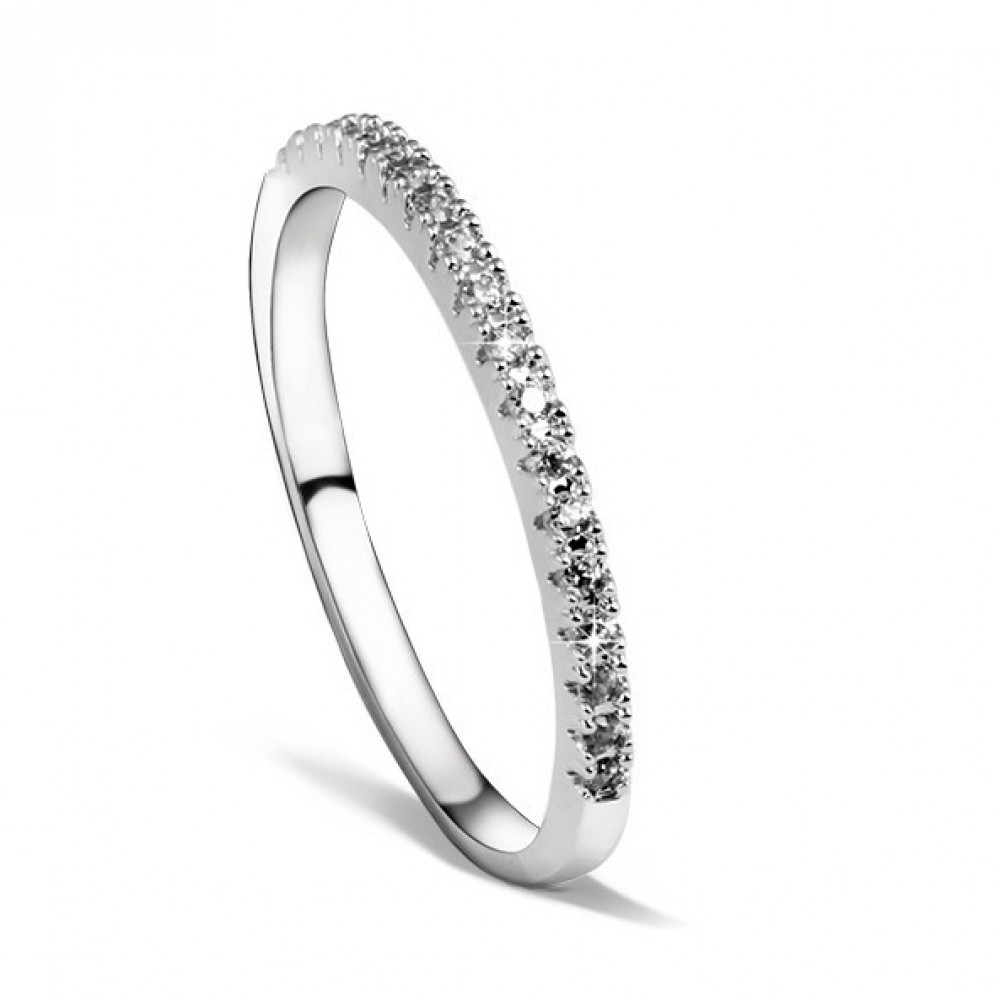 nahla silver crystal pave cz simple engagement dainty ring eternity dainty wedding bands Nahla CZ Pave Dainty Sparklers Eternity Ring