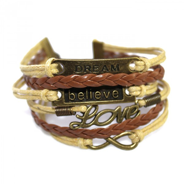 Dream Believe Love Friendship Braid Leather Bracelet