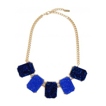 Cobalt Geo Druzy Statement Necklace