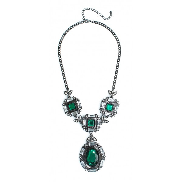 Iced Emerald Stone Glam Statement Necklace