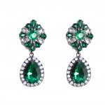 Myrcella Emerald Floral Crystal Drop Earrings