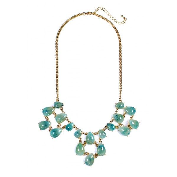 Anselle Teal Lucite Teardrop Cascade Necklace