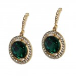 Faria Round Pave Teal Crystal Earrings