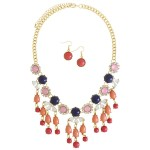 Floral Fringe Bijoux Bauble Bib Necklace
