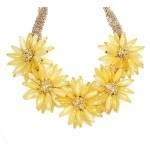 'Field Day' Yellow Bauble Flower Bib Necklace