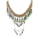 Ombre Chain Beads Crystal Fringe Statement Necklace