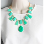 Caribbean Green Geo Gem Statement Necklace