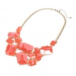 Persimmon Geo Stone Fragments Statement Bib Necklace