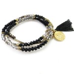 Glam Faceted Glass Beads Stone Wrap Bracelet Set