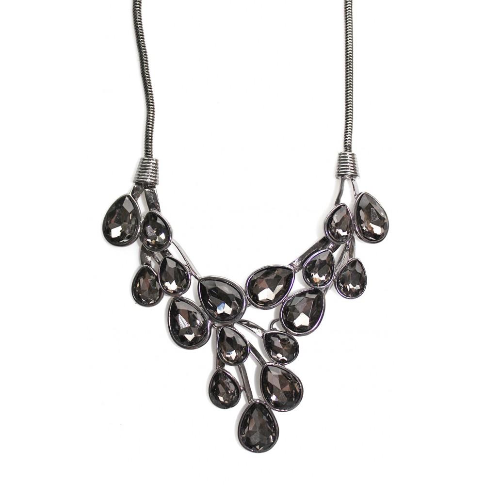 Smokey Grey Dew Drop Bib Necklace