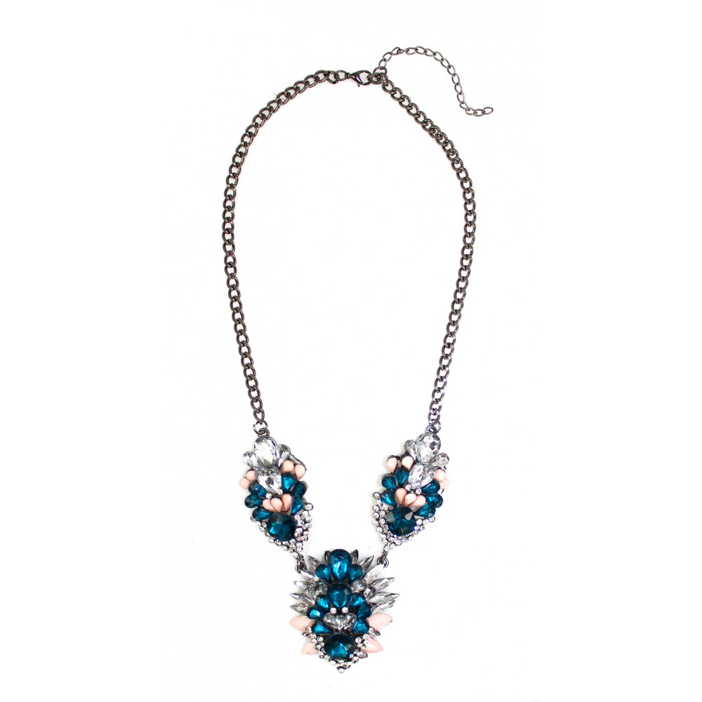 Sapphire & Blush Marquise Cluster Statement Necklace