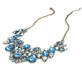 Marine Blue Crystal Geo Stones Necklace