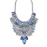 Silver Waterfall Jewel Tone Flower Encrusted Statement Necklace