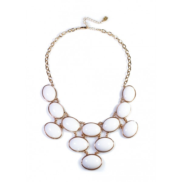 Ivory Bubble Cabochon Net Necklace