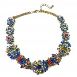 Chrysanthemum Multicolored Crystal Statement Necklace