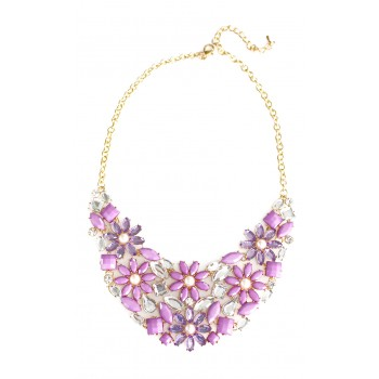 Frosty Lilac Flower Cluster Statement Necklace