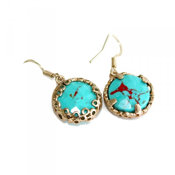 Turquoise Marble Honeycombed Stone Earrings
