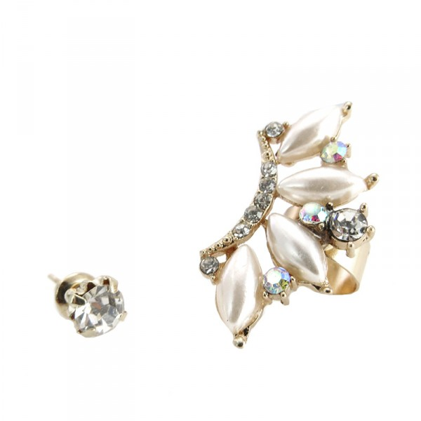 Heiress Crystals Marquise Pearls Ear Cuff
