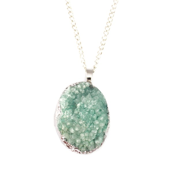 Teal Oval Druzy Stone Pendant Necklace