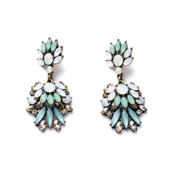 Mint Lotus Opal Marquise Earrings