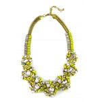 Neon Yellow Stone Confection Statement Necklace