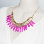 'Omri' Neon Pink Marble Stone Boho Necklace