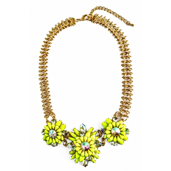 Neon Yellow Stone Burst Flower Statement Necklace