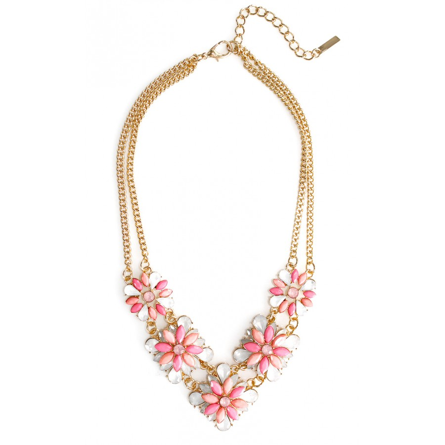 Pink peonies opal stone clusters bridal statement necklace rosie pink opal flower bouquet necklace mightylinksfo