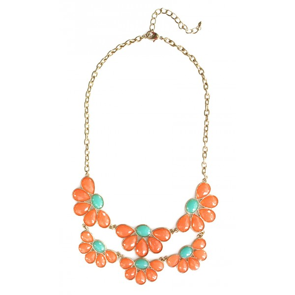 Suri Coral Faceted Flower Petals Necklace